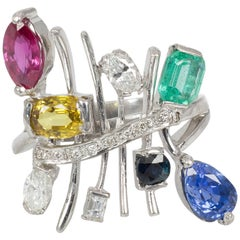 Vintage 18 Karat Gold, Ruby, Topaz, Emerald, Sapphire and Diamond Ring, 1970s
