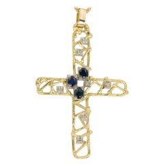 Vintage 18 Karat Gold, Sapphire and Diamond Crucifix Pendant, 1970s