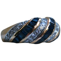 Vintage 18 Karat Gold Sapphire and Diamond Ring Wedding Band by Oscar Heyman