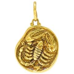 Vintage 18 Karat Gold Scorpio Zodiac Pendant Charm