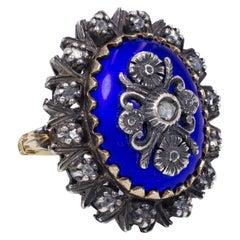 Vintage 18 Karat Gold, Silver, Enamel and Diamond Ring, 1960s