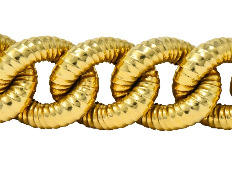 Contemporary Vintage 18 Karat Gold Textured Curb Link Bracelet