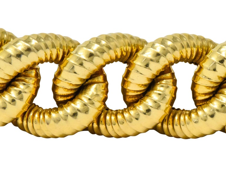 Vintage 18 Karat Gold Textured Curb Link Bracelet In Excellent Condition In Philadelphia, PA