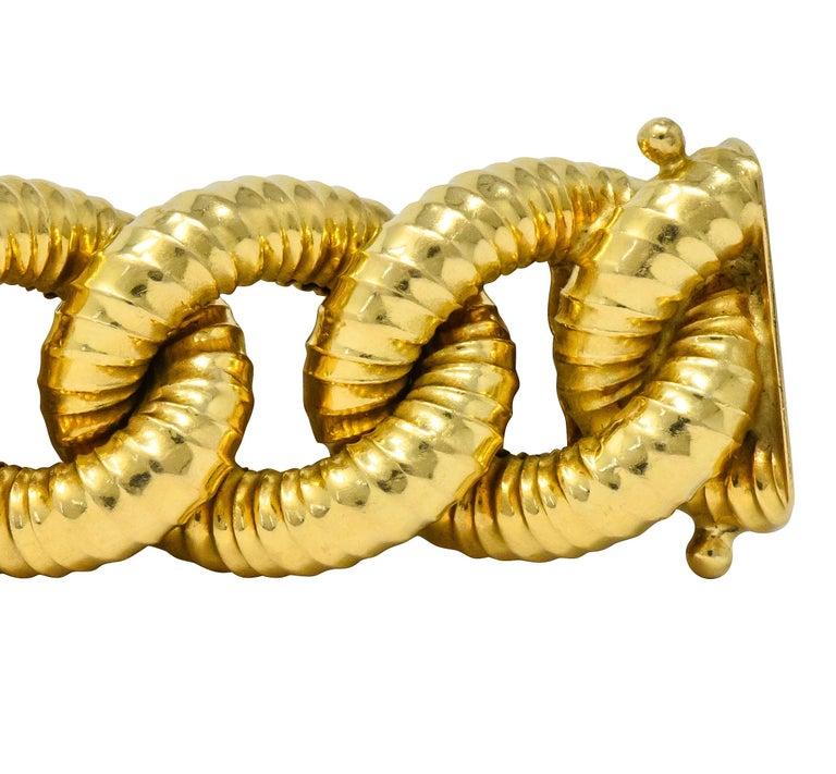 Women's or Men's Vintage 18 Karat Gold Textured Curb Link Bracelet