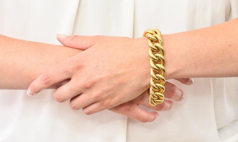 Vintage 18 Karat Gold Textured Curb Link Bracelet 3