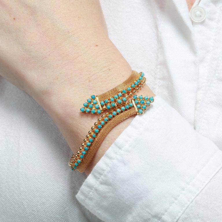 Women's or Men's Vintage 18 Karat Gold Turquoise Bracelet For Sale