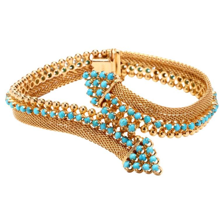 Vintage 18 Karat Gold Turquoise Bracelet For Sale