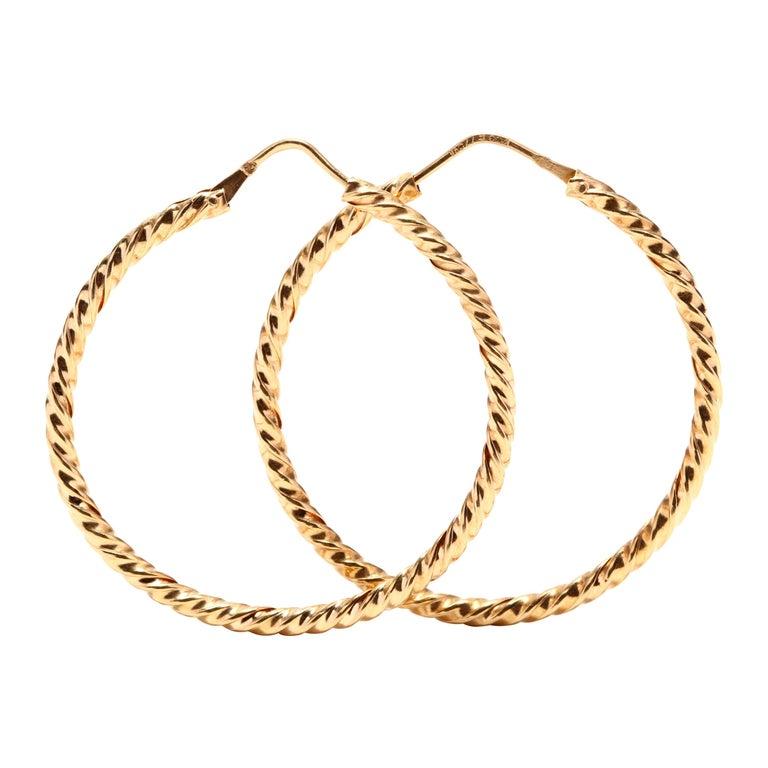 Vintage 18 Karat Gold Twist Hoop Earrings For Sale