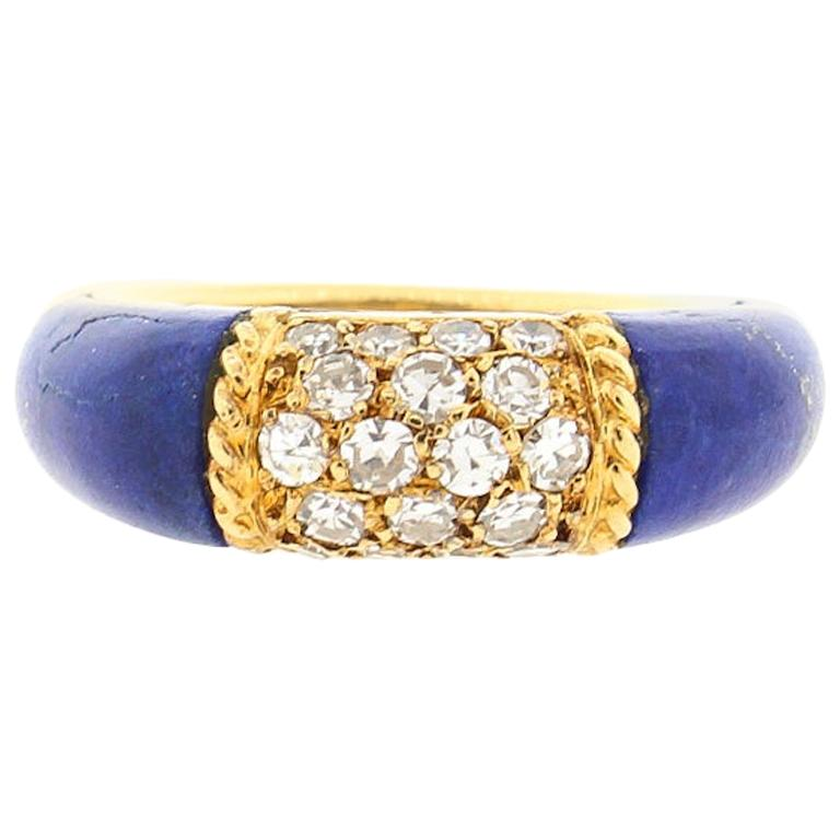 "Vintage 18 Karat Gold Van Cleef & Arpels Lapis Diamond ""Philippines"" Ring"