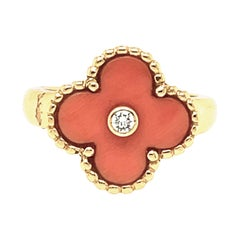 Vintage 18 Karat Gold VCA Coral Alhambra Ring