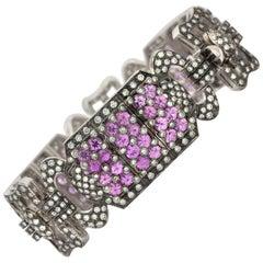 Vintage 18 Karat Gold Wide Pink Sapphire and Diamond Bracelet