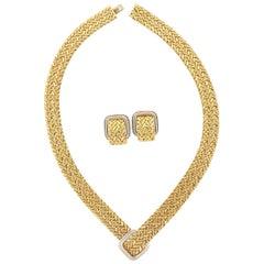 Vintage 18 Karat Gold Woven Necklace and Earring Set by Georges L'Enfant
