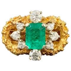 Vintage 18 Karat Midcentury Columbian Emerald VS Diamond Cocktail Ring