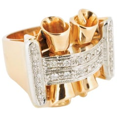 Vintage 18 Karat Rose Gold Diamond Retro Ring