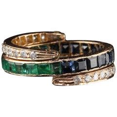 Vintage 18 Karat Rose Gold Diamond Sapphire and Emerald Flip Ring - Size 5.75