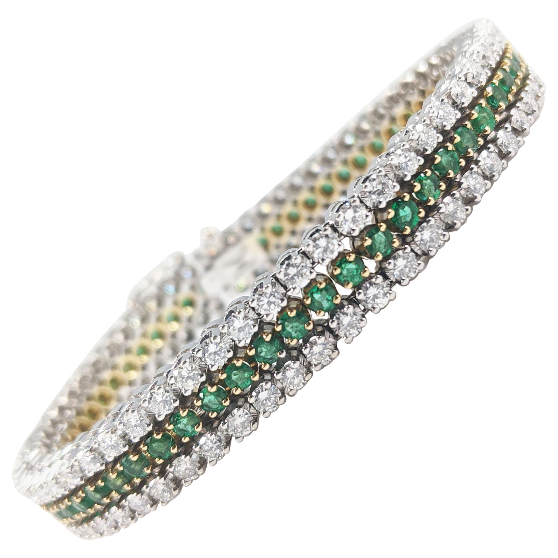 Vintage 18 Karat White and Yellow Gold Diamond Emerald Line Bracelet