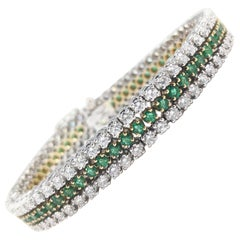 Vintage 18 Karat White and Yellow Gold Diamond Emerald Line Bracelet