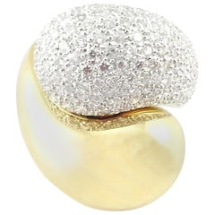 18 Karat White and Yellow Gold Pave Diamond Chunky Crossover Ring
