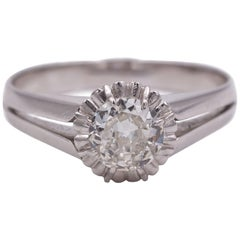 Vintage 18 Karat White Gold and 0.5 Carat Diamond Solitaire Ring