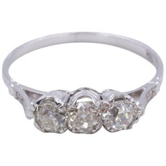 Vintage 18 Karat White Gold and 1.09 Carat Diamond Three-Stone Ring, 1950s