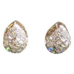 Vintage 18 Karat White Gold and Diamond Huggie Pierced Earrings