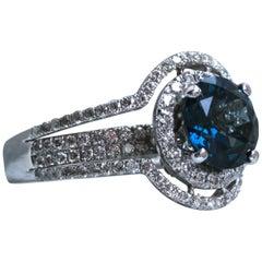 Vintage 18 Karat White Gold Blue Topaz and Diamond Double Halo Ring, 4.75 Carat