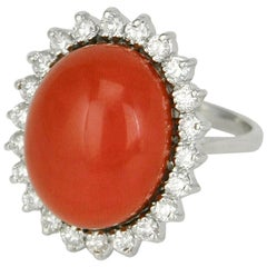 Vintage 18 Karat White Gold Coral and Diamond Oval Cluster Ring, 1970s