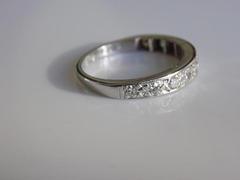 Contemporary Vintage 18 Karat White Gold Diamond Half Eternity Ring Band For Sale
