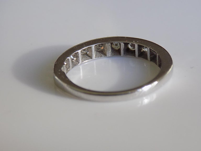 Vintage 18 Karat White Gold Diamond Half Eternity Ring Band In Good Condition For Sale In Boston, Lincolnshire