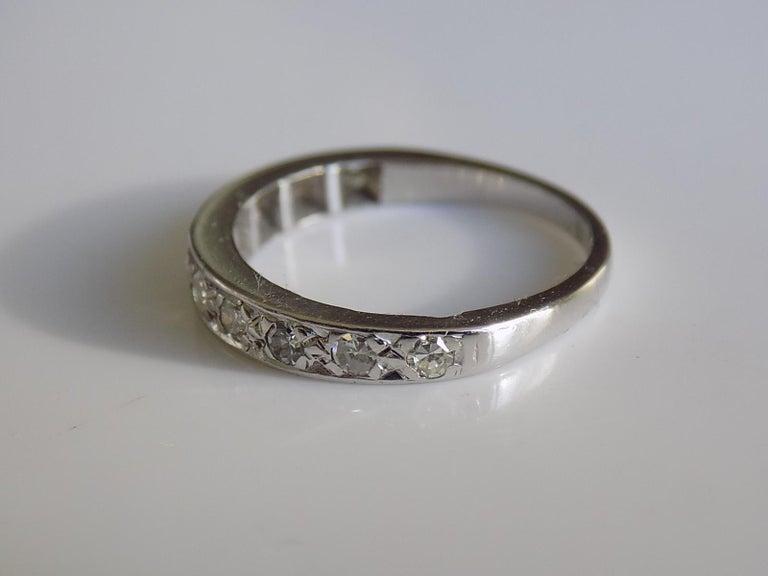 Women's Vintage 18 Karat White Gold Diamond Half Eternity Ring Band For Sale