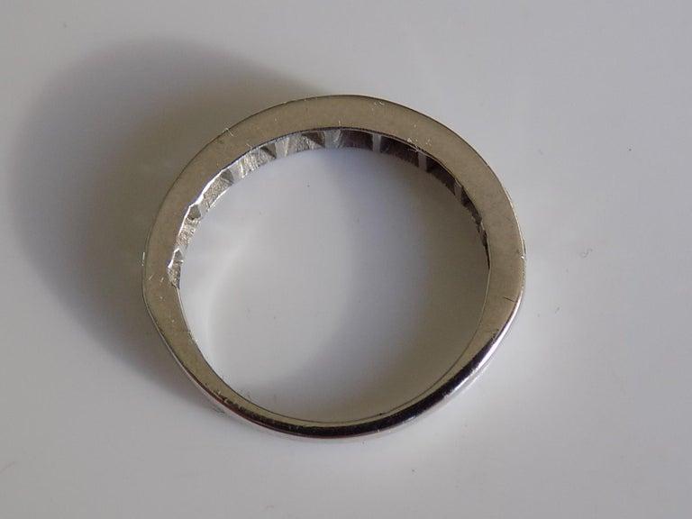 Vintage 18 Karat White Gold Diamond Half Eternity Ring Band For Sale 1