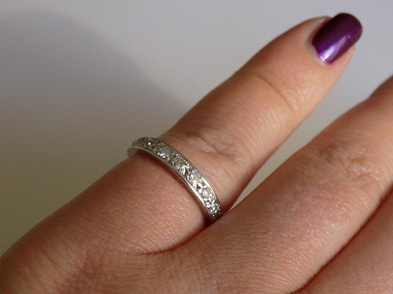 Vintage 18 Karat White Gold Diamond Half Eternity Ring Band For Sale 3