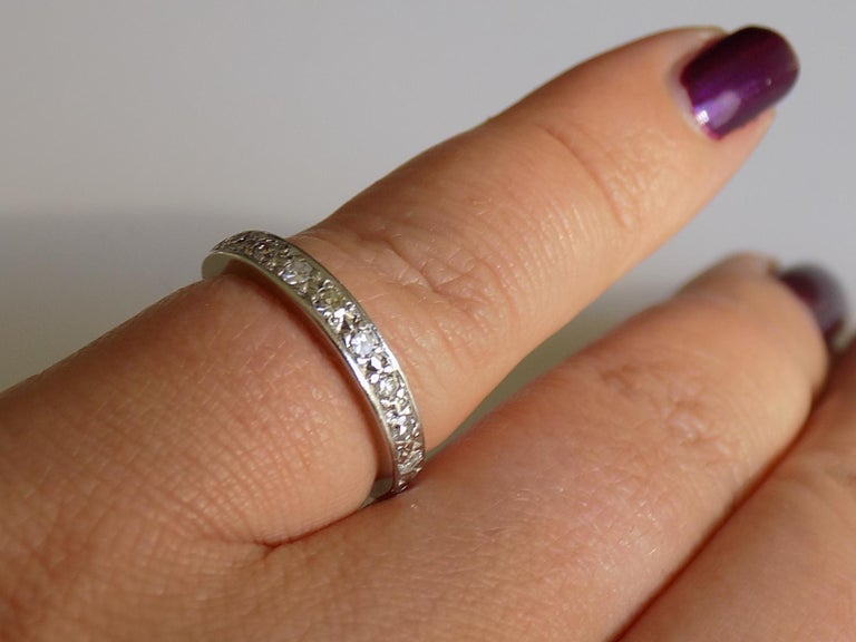 Vintage 18 Karat White Gold Diamond Half Eternity Ring Band For Sale 4
