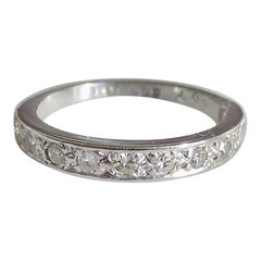 Vintage 18 Karat White Gold Diamond Half Eternity Ring Band