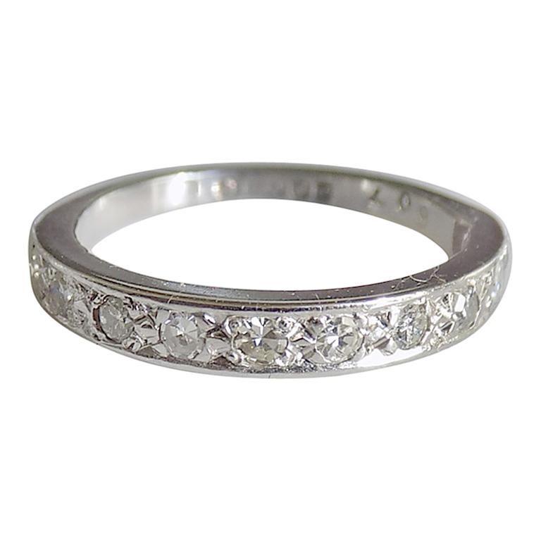 Vintage 18 Karat White Gold Diamond Half Eternity Ring Band For Sale