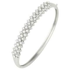Vintage 18 Karat White Gold Diamond Hinged Bangle Bracelet