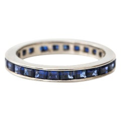 Vintage 18 Karat White Gold French Cut Sapphires Eternity Band, circa 1940s