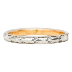 Vintage 18 Karat White Gold Hand Carved Gallery Art Deco Two-Tone Antique Band