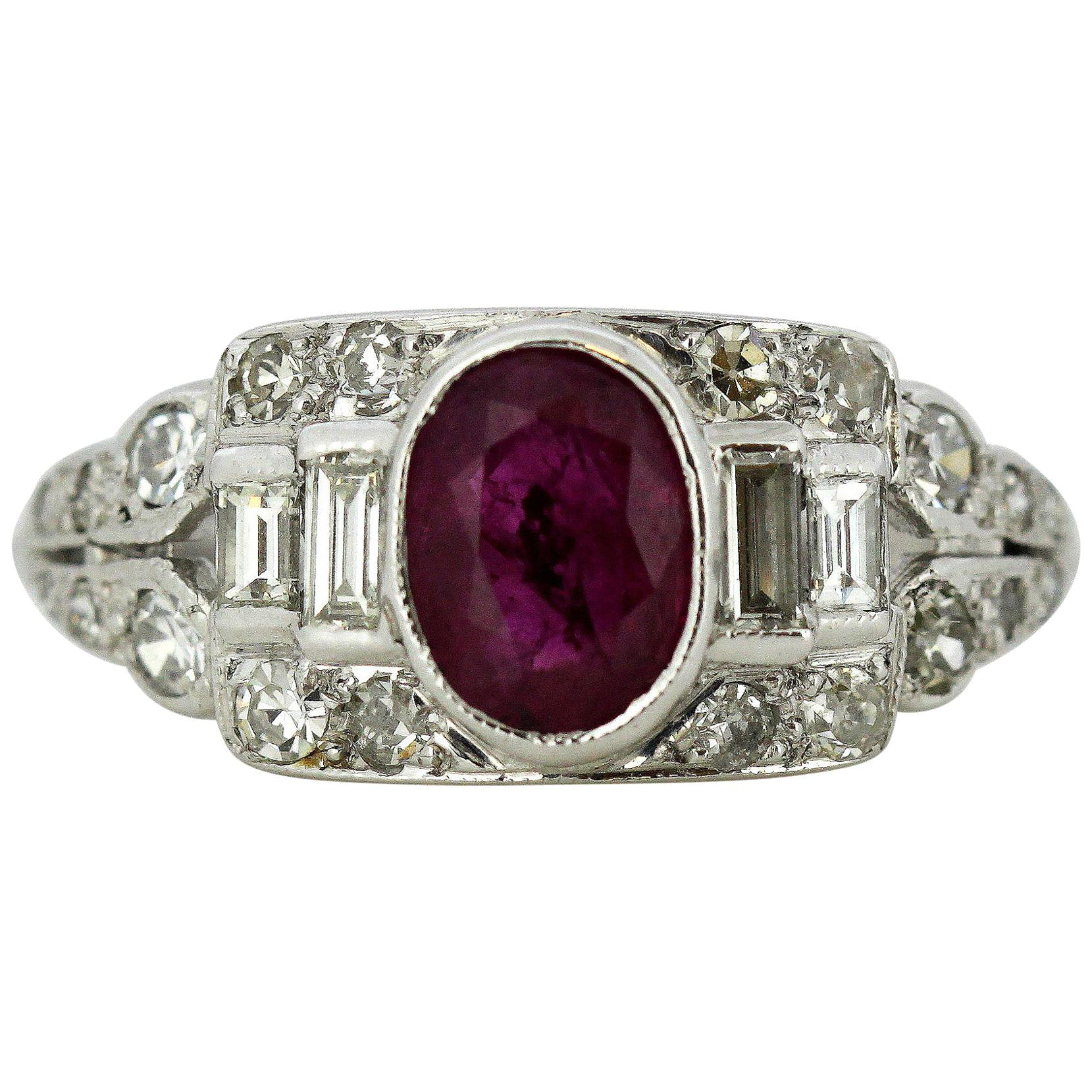 Vintage 18 Karat White Gold Ladies Ring with Natural Ruby and Diamonds, 1970s