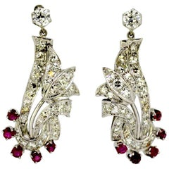 Vintage 18 Karat White Gold Ladies Stud Earrings with Diamonds and Rubies