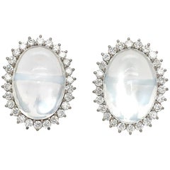 Vintage 18 Karat White Gold Moonstone and Diamond Earrings