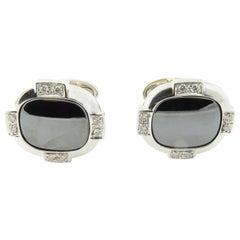 Vintage 18 Karat White Gold Onyx and Diamond Cufflinks #4382