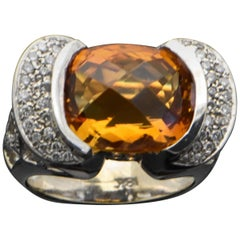 Vintage 18 Karat White Gold Ring with Citrine and Diamond Ring