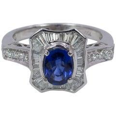 Vintage 18 Karat White Gold, Sapphire and Diamond Ring, 1950s