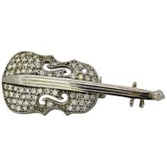 Vintage 18 Karat White Gold Violin Brooch with Diamonds, circa 1950s