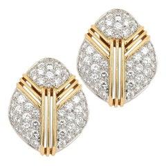 Vintage 18 Karat Yellow and White Gold 4.40 Carat Diamond Pavé Clip Earrings