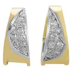 Vintage 18 Karat Yellow and White Gold Diamond Earrings