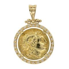 Vintage 18 Karat Yellow Gold 0.42 Cttw Diamond Alexander the Great Coin Pendant