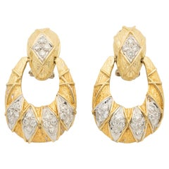Vintage 18 Karat Yellow Gold and Diamond Door Knocker Earrings