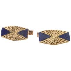 Vintage 18 Karat Yellow Gold and Lapis Lazuli Cufflinks